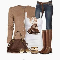 Comfortable sweater, white blouse, jeans, scarf and long boots for fall #fashion #outfit