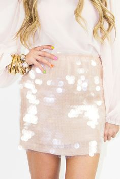 skirt, christmas parties, sequin, colorful nails, holiday outfits