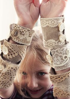burlap lace and doily wrist bands/bracelets - Get rid of the burlap though and use something softer @Paula Smith. THIS ALSO GAVE ME AN IDEA, USING PAPER TOWEL ROLLS, CUT, WRAP LIKE ABOVE USE FOR NAPKIN RINGS