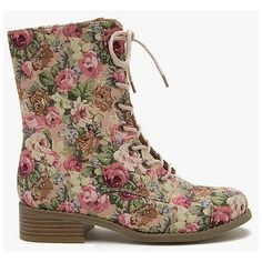 Madrid 10 Floral Print Combat Boot ($33) found on Polyvore