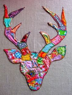 patchwork-embroidered deer