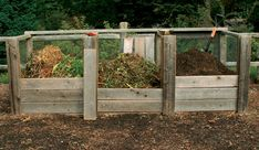 6 Ways to Make Great Compost: In a three-bin compost system, the first bin (left) holds fresh materials ready for composting.Materials are moved to the second bin (middle) to keep things running hot and decomposing fast. Materials finish composting in the last bin (right).