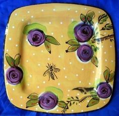 Decorative Dishes - Big Art Pottery Gold Dots Purple Roses Bee Plate, $74.99 (http://www.decorativedishes.net/big-art-pottery-gold-dots-purple-roses-bee-plate/) rose bee, dot purpl, gold dot, decor dish, purpl decor, big art, purple roses, purpl rose, bee plate