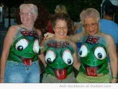 OMG  The old frog ladies!!!!  Please don't jump!