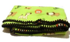 Fleece Throw Blanket Jungle Animals in Lime by AddSomeStitches, #Etsy #dteam #Babies