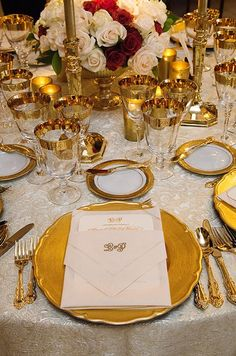 formal table decor white linen gold - Google Search