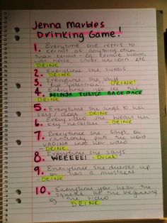 Jenna Marbles Drinking Game...brilliant!