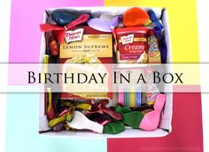 Send a Birthday In a Box If you can't be there in person then at least you can send them a little mini party!  Inside your box you can put a cake mix, frosting, candles, noise makers, balloons, a birthday banner, and wrap it all up in some colorful tissue paper.I think this would be a very fun box to receive in the mail.