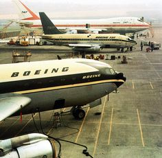 The Boeing jetliner prototypes: (bottom to top) 707, 737 and 747