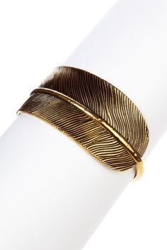 Wide Feather Bangle