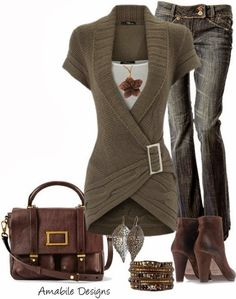 Adorable cardigan, grey jeans, brown bag and high heels fashion for fall