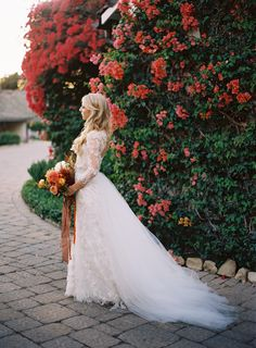 Colorful Elegant San Ysidro Ranch Wedding - amazing monique lhullier gown