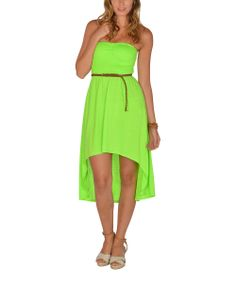 Neon Green Shirred Strapless Hi-Low Dress | Zulily