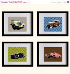 ON SALE Vintage Cars Nursery Art Print  by MadeForYouPrints, $37.95