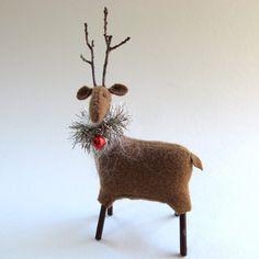 Handmade Wool Reindeer, Hand Sewn, Wool Reindeer, Holiday Decor, Christmas Decoration, Freestanding