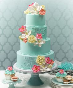 cake shop, beauti cake, blue cakes, flower, beauti blue