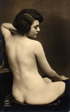 Vintage nude, P.C. of Paris, seated nude, postcard, 1920. | Early Pictures