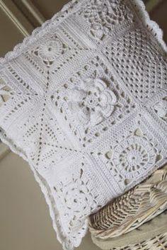 . white cushion, pillow, crochet squares, granny squares, white crochet cushion