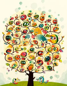little birds, funny birds, color, art, sami viljanto, trees, kids bath, owls, print