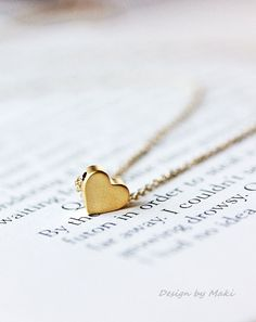Simple Tiny Heart Necklace on 14k Gold Filled or sterling silver $24.00 BEST GIFT for your love one!