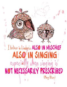 """owls by mary oliver In the passage """"owls"""" by mary oliver, she used abstract illusions and vivid diction to convey her thoughts on nature the author consistently referred to two main subjects, owls and flowers."""