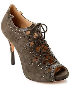 Pour La Victoire 'Vara' Leather & Studded Suede Open-<wbr/>Toe Bootie