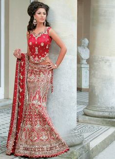 Bridal red fish Lengha. Different shows all the curves! indian long hair, bridal red, indian wear, dress, indian cloth, indian fashion, indian bridal, lengha bridal, red bridal lengha