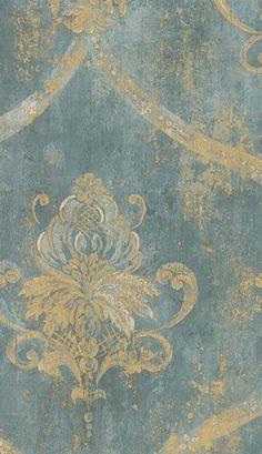 French blue damask wallpaper
