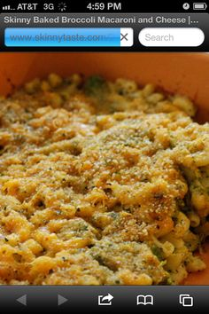 Cheesy macaroni and broccoli are topped with bread crumbs and baked ...