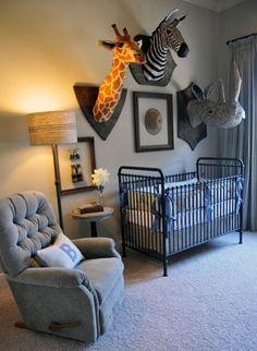 safari theme, animal heads, kid rooms, babi room, kids library, safari nursery, baby boy nurseries, safari animals, babies rooms