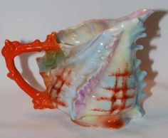 Royal Bayreuth Shell Majolica Pitcher Creamer Rare