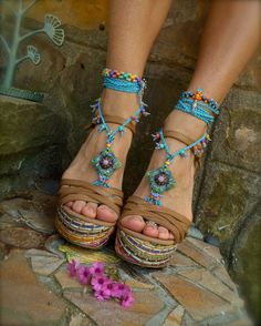 blue HIPPIE summer BAREFOOT SANDALS crochet sandals by GPyoga, $76.00
