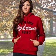 Alpha Omicron Pi State and Date Printed Hoody $33.95 #Greek #Sorority #Clothing #AOPi #AlphaOmicronPi #Hoodie #Sweatshirt