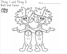 thing 1 and thing 2 roll and color  Tales From a K-1 Classroom: Freebies