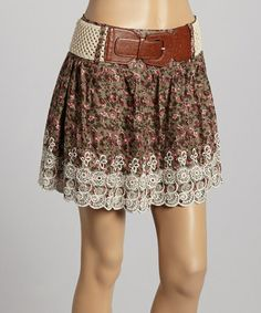 Another great find on #zulily! Brown Belted Floral A-Line Skirt #zulilyfinds
