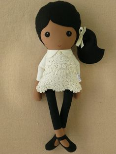Custom Listing for Joanne - Fabric Doll Rag Doll Girl in Cream Lace Dress via Etsy