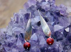 """Sterling Silver cross hatch w Red Beads by Crow for SistersArtisans, $42.00 PLEASE Click on the """"etsy.com"""" words below to follow the link to this item."""