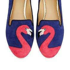 The perfect mix of charming and classic, our Flamingo Suede Smoking Slipper!