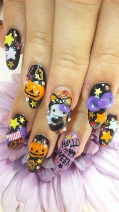 hello kitty halloween nails black cat