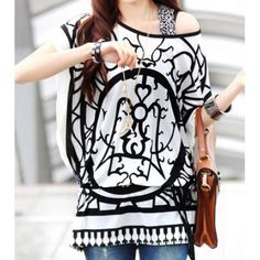 Color Block Casual Scoop Neck Abstract Print Batwing Sleeve Women's Blouse