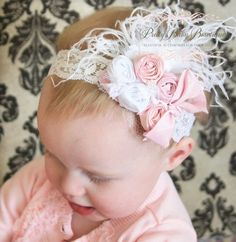 Baby Girl Hair Bow - Couture Baby Headband - Pink and White Baby Headband - White Lace Headband - Baby Feather Headband.via Etsy.
