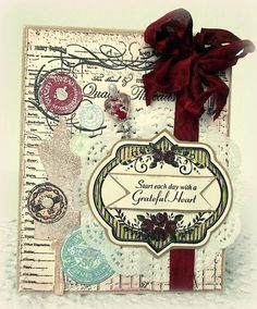JustRite Card designed by Melissa Bove using Grandma's Attic Background Stamp and Vintage Rose Medallions.