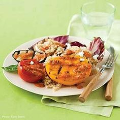 Grilled Tomatoes, #Eggplant, and #Radiccio over #Quinoa: This hearty #vegetarian dish is full of summer flavors: ripe #tomatoes, aromatic #basil, and the smoke of the grill. Get the recipe: http://deliciousliving.com/recipes/grilled-tomatoes-eggplant-and-radicchio-quinoahttp://deliciousliving.com/recipes/grilled-tomatoes-eggplant-and-radicchio-quinoa