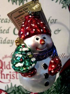 Merck Family Old World Christmas 'The Glass Snowman' retired blown glass ornament ... in my shop now!