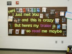 Inspired by a Montpelier High School Library display. (http://pinterest.com/amyburl/library-bulletin-board-ideas/)