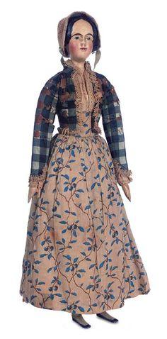 All-Original Grodnertal Wooden Doll w/Rare Body Construction & Original Costume