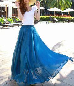 Peacock blue Chiffon skirt Maxi Skirt Long Skirt par lsmartmiss