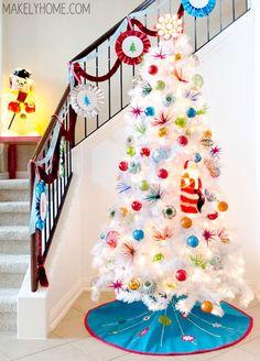 1960s Inspired White Christmas Tree via MakelyHome.com