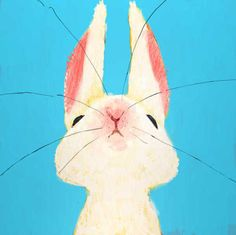 rabbit, easter, funny bunnies, blue, color, bunny art, kid rooms, artist, print