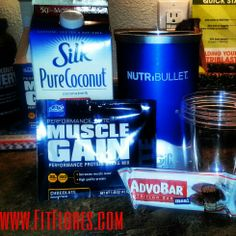 Protein Recipe ADVOCARE muscle Gain Protein 8 oz of Coconut Milk HALF of the choclate AdvoBar! Mix in Nutribullet!  It taste Soooooooo AMAZING! Freeze for ice cream texture! advocar recip, muscl gain, advocar meal, protein recipes, coconut milk, advocar healthi, challeng recip, healthi recip, advocare muscle gain recipes